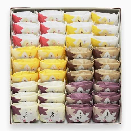 錦もみじ 36個入(こしあん×6、粒あん×6、チーズクリーム×6、チョコレート×6、お餅×6、お芋×6)