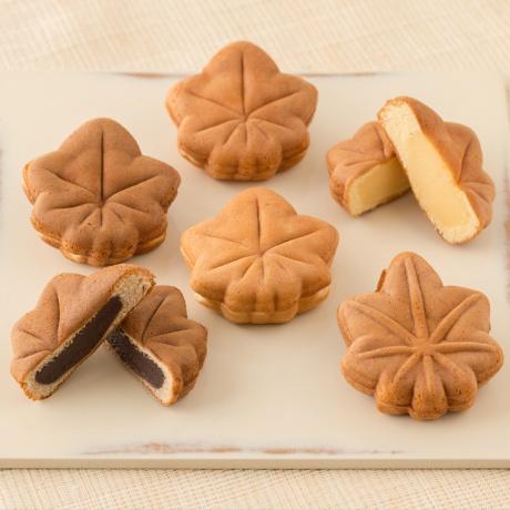 錦もみじ 6個入(こしあん×1、粒あん×1、チーズクリーム×1、チョコレート×1、お餅×1、お芋×1)